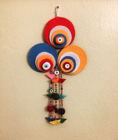 Felt Crafts, Diy And Crafts, Crafts For Kids, Arts And Crafts, Diwali Decoration Items, Handmade Decorations, Wall Hanging Crafts, Fabric Jewelry, Felt Art