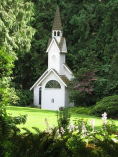 White country church in Minter Gardens, BC, Canada