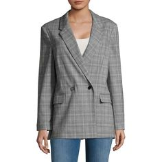 Miss Selfridge Women's Plaid Double-Breasted Blazer ($90) ❤ liked on Polyvore featuring outerwear, jackets, blazers, grey, grey double breasted blazer, grey plaid jacket, grey jacket, grey blazer jacket and gray blazer