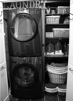 small laundry room  We did this and have shelves that hold towels and sheets.  I store the sheets in a laundry basket for easy access. Bifold doors hide it all.