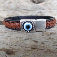 Men's Evil Eye Bracelet Black and Brown Braided Thick | Etsy Evil Eye Bracelet, Thick Leather, Fathers Day Gifts, Happy Shopping, Black And Brown, Braids, Eyes, Bracelets, Silver