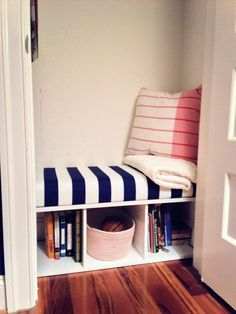 My newest DIY! Closet turned reading nook :)