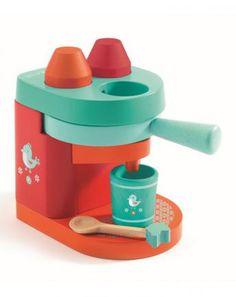 Holz-Kaffemaschine MA CAFETIERE mit Tasse in bunt
