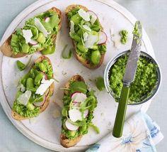 Crostini with pea purée, rocket & broad beans recipe - Recipes - BBC Good Food
