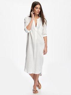 Crinkle-Gauze Midi Shirtdress for Women