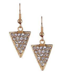 Take a look at this Antique Gold Crystal Triangle Earrings by Olivia Welles Jewelry on #zulily today!
