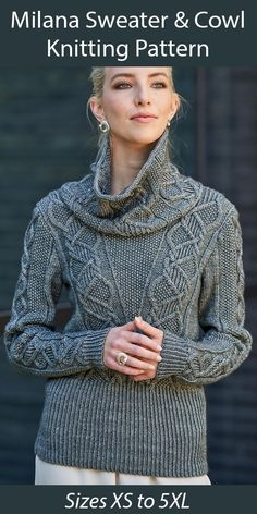 """Sweater Knitting Pattern Milana Sweater and Cowl - Pullover crew neck sweater with matching cowl, featuring cables on the body and sleeve with seed stitch texture. Sizes Bust: 84 (92, 100, 108, 116, 124, 136, 148, 160) cm/33 (36.25, 39.25, 42.5, 45.75, 48.75, 53.5, 58.25, 63)"""". DK weight yarn. Designed by Linda Marveng"""