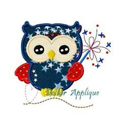 July 4th Fireworks Owl Applique - 3 Sizes! | Birds and Birdhouses | Machine Embroidery Designs | SWAKembroidery.com Dollar Applique