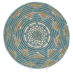 Kazi Round Woven Plate In Blue - The intricately crafted KAZI Woven Plate is handwoven in Rwanda of carefully dyed sisal fiber and sweet grass. This gorgeous woven piece is designed as a wall plate and adds a globally-inspired feel to any room. Boho Decor, Art Decor, Decor Ideas, Basket Weaving, Hand Weaving, Pine Needle Baskets, Painted Wicker, Native Design, Baskets On Wall