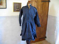 Antique French hemp or chanvre mans shirt dyed by AtelierHope