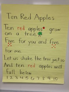 Try this fun poem with your apple activities!