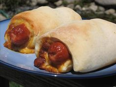 "Chili Cheese Dogs in Beach Blankets from Food.com:   								The ultimate ""pigs in a blanket""!  From June-July 2007 Rachel Ray.  Untried by me, will edit when I do."