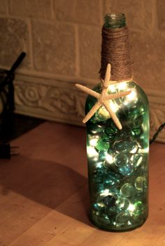 Lighted Sea Glass Wine Bottle with Starfish by TheSeasideVineyard, $20.00