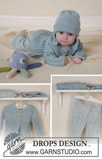 DROPS Baby 13-2 - Jacke, Hose und Mütze (Tintenfisch 8-13 und Decke 10-13) - Free pattern by DROPS Design