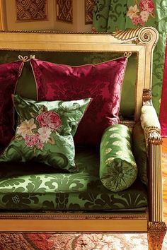 Luxury from Designers Guild. Interior And Exterior, Interior Design, Designers Guild, Shabby Vintage, Vintage Sofa, Soft Furnishings, Pink And Green, Green Silk, Olive Green