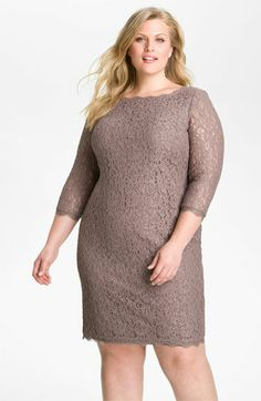 Love the scalloped neckline! Could be a great Little Taupe Dress... |||  Adrianna Papell Lace Overlay Sheath Dress (Plus) available at Nordstrom