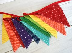 Birthday Decoration Colorful Bunting Fabric Banner Flags Baby Nursery Decor - Rainbow - Ready to Ship