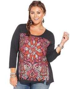 Lucky Brand Plus Size Floral-Print Tee