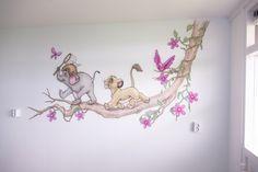 Tak met LionKing, JungleBook vlindertje en vogeltje muurschildering