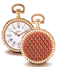 PATEK PHILIPPE AN 18K YELLOW GOLD, ENAMEL AND PEARL-SET LOUIS XV-STYLE OPEN-FACED WATCH, RETAILED BY TIFFANY & CO. 1888 NO 81726 • nickel lever movement, wolf's tooth winding, engraved gold cuvette • white enamel dial, blue Roman numerals, Arabic outer ring • case back with translucent red enamel design painted with small flowers, case band similarly decorated, both bezels and bow set with pearls • case, dial, cuvette and movement signed by retailer diameter 33 mm