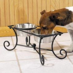 Pet Studio Wrought Iron Raised Dog Diner with 2 Dog Bowls