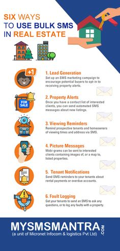 Six ways to use bulk sms in real estate business. Take a look at this to find out how SMS can be used to promote real estate business. Sms Message, Messages, Sms Short Code, Stock Broker, Contact List, Mass Communication, Online Support, Real Estate Business, Marketing Tools