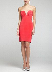 Ultra chic, sexy and fabulous! This banded jersey dress is perfect for any true fashionista wanted to stand out and make a statement!  Strapless bodice features eye-catching V rhinestone detail on ruched bodice.  Vibrant banded jersey fabric is not only stunning but figure flattering.  Fully lined. Back zip. Imported polyester. Professional spot clean.