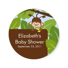 Baby Monkey Jungle Safari Baby Shower Sticker
