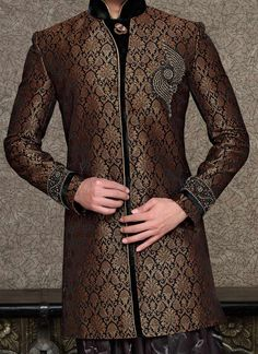 sherwani - men usually don't have many choices in what to wear, and almost ALWAYS go with the simple pure black sherwani. I say break tradition. Get a little festive! Without going overboard, of course. Taste is everything.