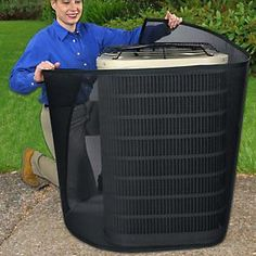 """Interesting! This prevents grass clippings, etc, from getting sucked nto your unit. They claim it makes unit """"up to 21% more efficient"""". Worth looking into. PreVent AC Filter - Pollen & Dust Air Conditioner Filter 