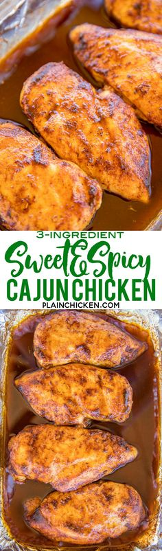 3-Ingredients Sweet and Spicy Cajun Chicken - seriously THE BEST baked chicken EVER! Only 3 ingredients and ready in under 30 minutes!! Chicken, brown sugar, cajun seasoning. There are never any leftovers. We make these at least once a month. SO good! Ser