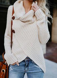 cd1a23b68b69f Casual Long Sleeve Front Cross Sweater