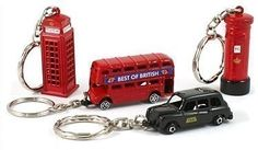 Famous London Icons Red Bus Telephone Booth Post Box & Big Ben Key Rings Mix of 4