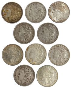 Lot 35: Morgan $1 Assortment; (10) coins including 1879, (2) 1889, 1890-O, (2) 1900-O, 1904, 1921, 1921-S and 1921-D