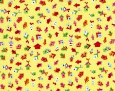 Dear Stella - Clementine - Tiny Houses in Yellow - 1 Yard