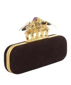 The @WorldMcQueen Cicada knucklebox clutch is a glorious, gothic bag - I probably wouldn't get this mixed up with someone else's black clutch! #fashion #style #purses