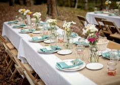 rustic wedding table ideas teal and ivory | Lots of decor from outdoor rustic barn wedding wedding outdoor rustic