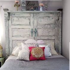 The relaxing and romantic tone from the shabby chic style causes it to be a well known option for bedrooms. White shabby chic furniture is usually best Shabby Chic Headboard, Shabby Chic Bedrooms, Shabby Chic Homes, Shabby Chic Furniture, Shabby Chic Decor, Farmhouse Headboards, Chic Bedding, Headboard Door, Barn Door Headboards