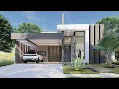 Casa Térrea Moderna - Cond. Santa Mônica - Caçapava/SP - YouTube Duplex Design, Bungalow House Design, Modern Architecture House, Architecture Design, 3d House Plans, Rooftop Design, Architectural House Plans, Entrance Design, Single Story Homes