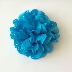 """ONE 3""""  Large Sky Blue Eyelet Fabric Flower-Applique-hairbow supplies-diy wedding-crafts-scrapbook-headband supplies-wholesale Flowers-Bulk by BBBSupply on Etsy"""