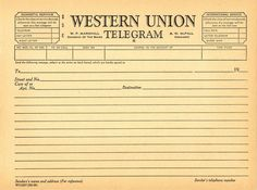 Sweetly Scrapped: HUGE Post of New Americana Etsy Banners AND images...but mostly I just LOVE this blank telegram....great to print out and write on in a journal.