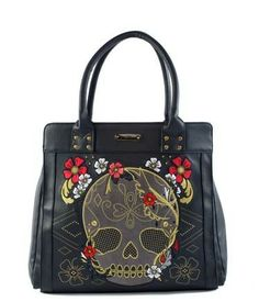 Loungefly Skull with Flowers Tote