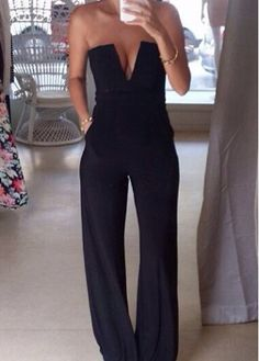 Elegant V Neck Strapless Harlan Jumpsuit Solid Black - USD $22.21 want!!!