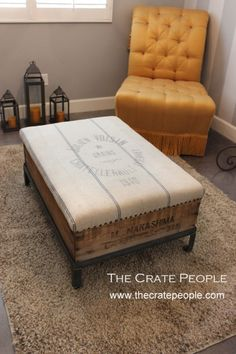1940 French Grain Sack Ottoman with Decorative Nail Heads & inside Storage