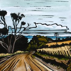 Linocut Print, Handcoloured - Landscape - Tasmanian Scene - Winding Road by trees4thewood on Etsy