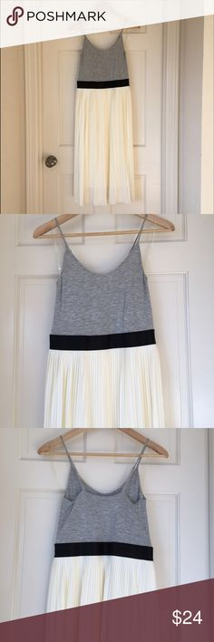 """NWOT Pleated Cream Puff Midi Dress Small Never worn adorable gray jersey/ cream pleated chiffon-y dress. The midi length just doesn't work on my short frame. Adjustable spaghetti tank straps. Original owner, non-smoking home. Xhilaration from Target, color/style is """"Cream Puff"""". Xhilaration Dresses Midi"""