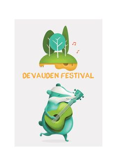 Devauden Festival, character and logo Illustration of a badger. Logo needed to include trees and music instruments!