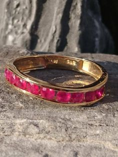 Red Ruby Solid Gold Wave Band Womens Ring Beautiful Red Pink Ruby Gemstones Corundum Great Gift Idea Genuine Hand Made Size by on Etsy Jade Ring, Ruby Gemstone, Jade Beads, Solid Gold, Wave, Gold Rings, Fashion Jewelry, Beaded Bracelets, Rose Gold