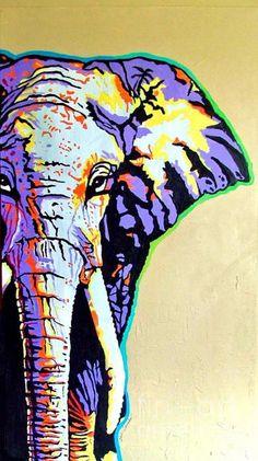 African Elephant Painting  - African Elephant Fine Art Print by Gail Zavala