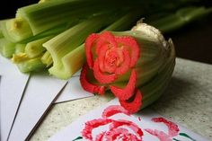 Celery heart to make flower stamps! So cute!